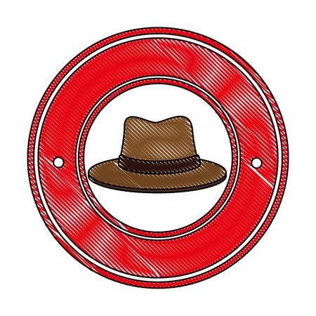 traditional canadian hat seal stamp vector illustration design