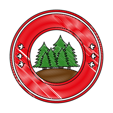 pines trees forest scene seal stamp vector illustration design