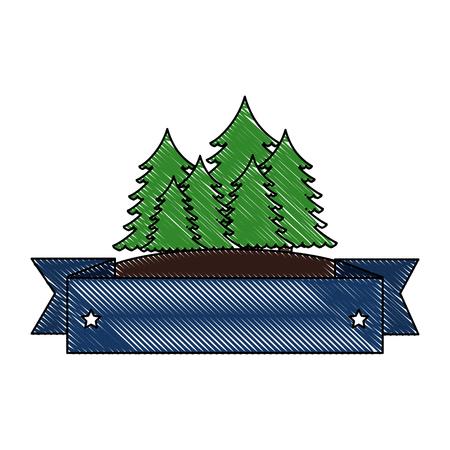 パインズツリーの森のシーンテープフレームベクトルイラストデザイン