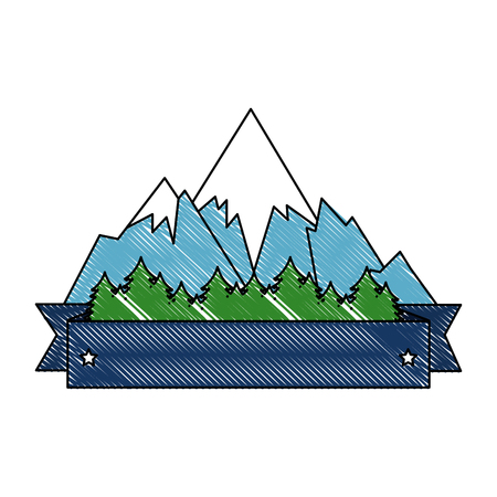 mountains with snow scene with ribbon frame vector illustration design 写真素材 - 102699133