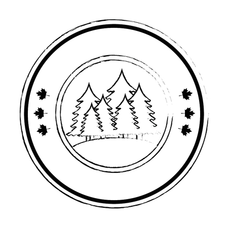 pines trees forest scene seal stamp vector illustration design