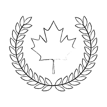maple leaf with wreath crown vector illustration design