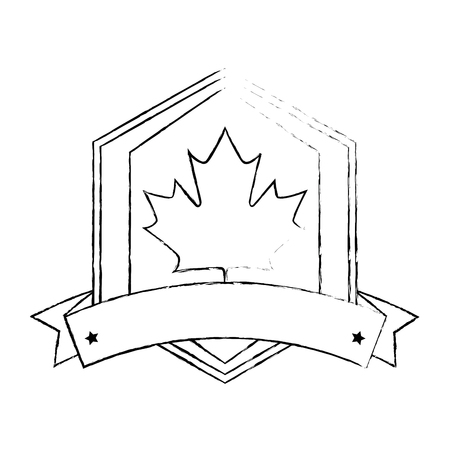 maple leaf with ribbon frame vector illustration design  イラスト・ベクター素材