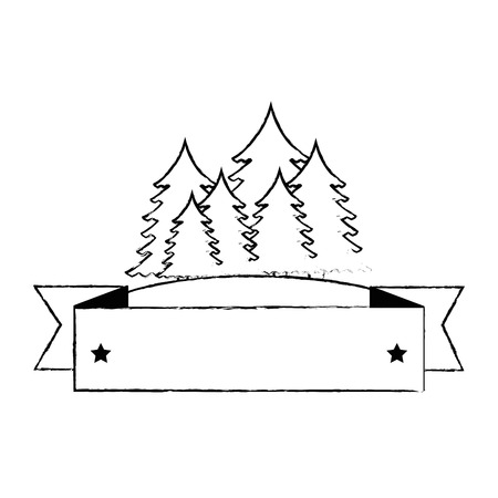 pines trees forest scene with tape frame vector illustration design Çizim