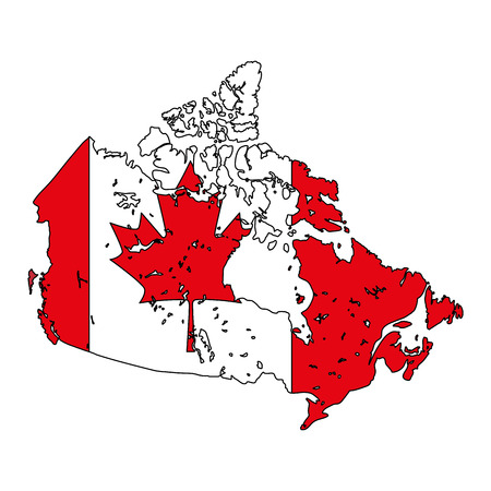map with canadian flag emblem icon vector illustration design