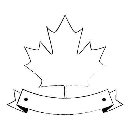 maple leaf with ribbon frame vector illustration design 스톡 콘텐츠 - 102699248