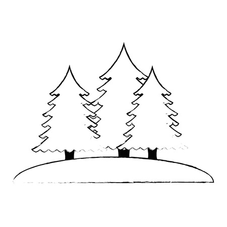 pines trees forest scene vector illustration design 版權商用圖片 - 102699251