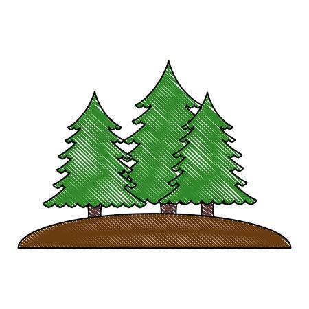 pines trees forest scene vector illustration design 向量圖像