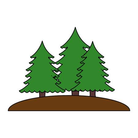 松の木森のシーンベクトルイラストデザイン