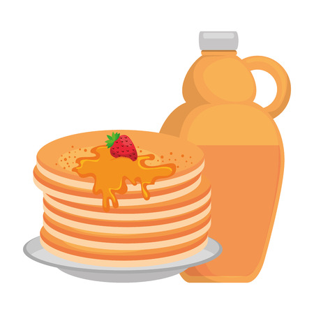 pancakes with maple syrup vector illustration design Stok Fotoğraf - 102699301