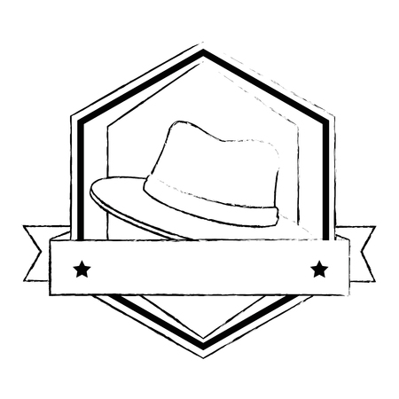 traditional canadian hat frame with tape vector illustration design