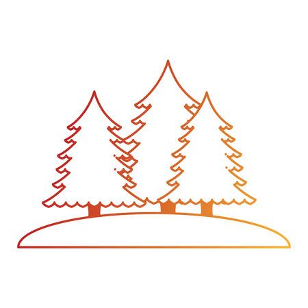 pines trees forest scene vector illustration design Illustration