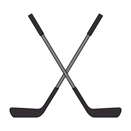 hockey sticks crossed emblem vector illustration design