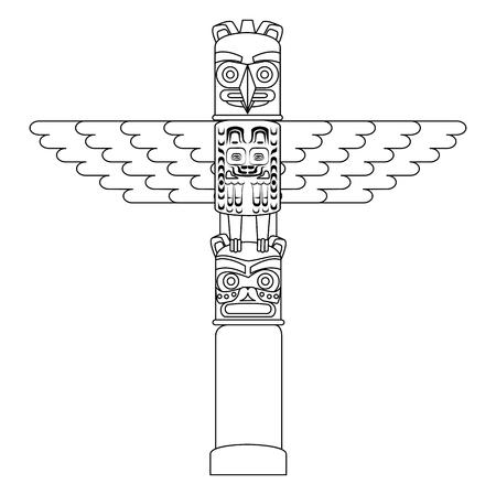 canadian wooden totem icon vector illustration design