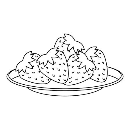 dish with fresh strawberries fruit vector illustration design