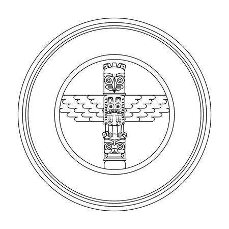 canadian wooden totem seal stamp vector illustration design