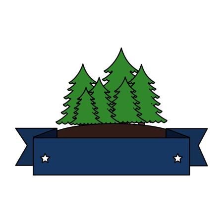 pines trees forest scene with tape frame vector illustration design 版權商用圖片 - 102699473