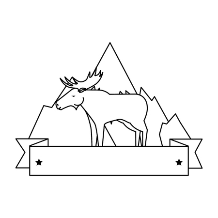 Canadian elk wild with mountains vector illustration design
