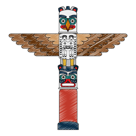 canadian wooden totem icon vector illustration design