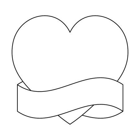 heart love with ribbon frame vector illustration design Illustration