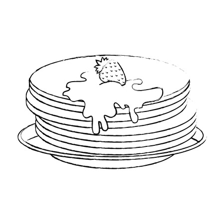 pancakes with maple syrup vector illustration design