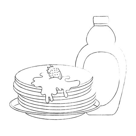 pancakes with maple syrup vector illustration design Standard-Bild - 102699680
