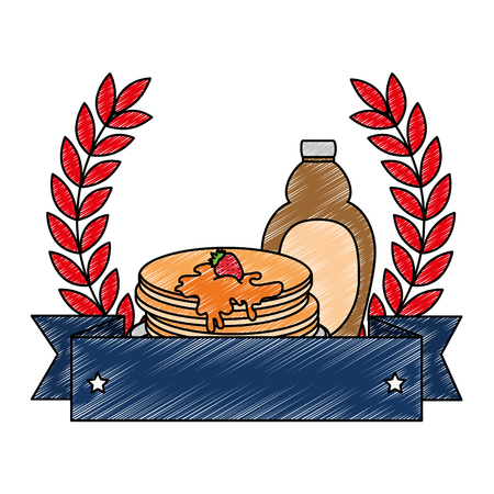 pancakes with maple syrup frame vector illustration design Ilustração