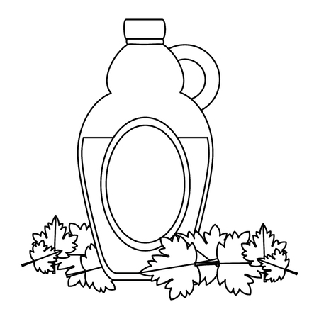 sweet maple syrup bottle and leafs vector illustration design Ilustração