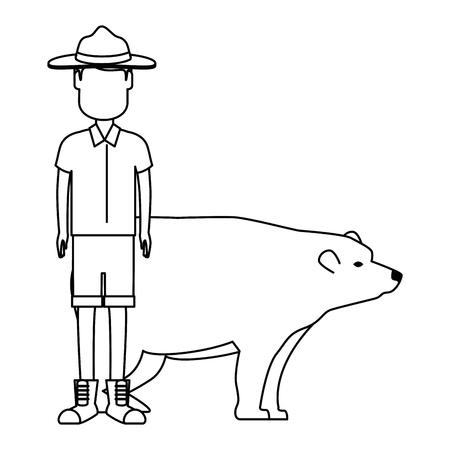 Canadian Ranger with bear vector illustration design 일러스트