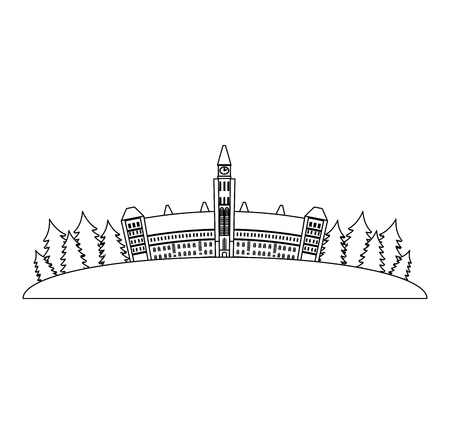 canadian parliament building icon vector illustration design