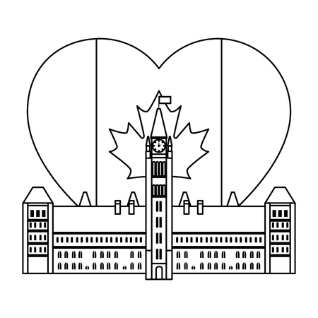 canadian parliament building with heart flag vector illustration design Фото со стока - 102700135