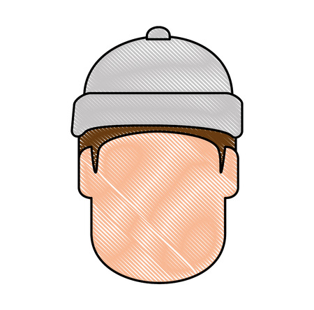 snowboarder head avatar character vector illustration design Çizim