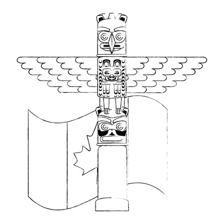 canadian wooden totem with flag vector illustration design