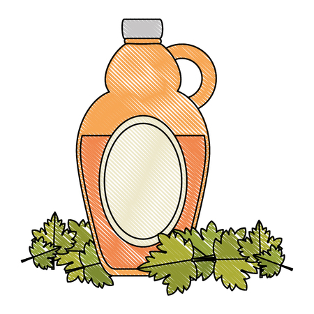 sweet maple syrup bottle and leafs vector illustration design Illustration