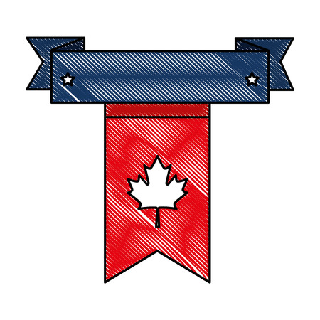 canadian flag garland hanging vector illustration design