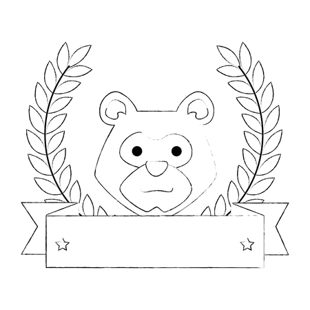 bear grizzly with wreath crown vector illustration design