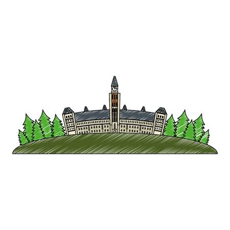 canadian parliament building icon vector illustration design