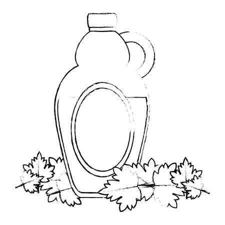sweet maple syrup bottle and leafs vector illustration design Illustration