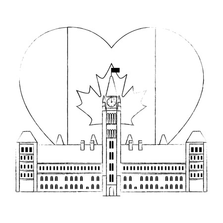 canadian parliament building with heart flag vector illustration design Фото со стока - 102702714