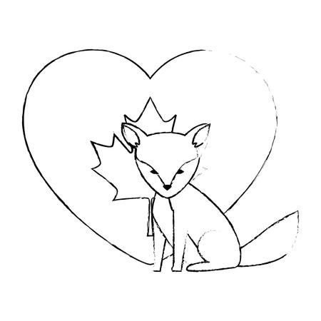 wild canadian fox with heart flag vector illustration design