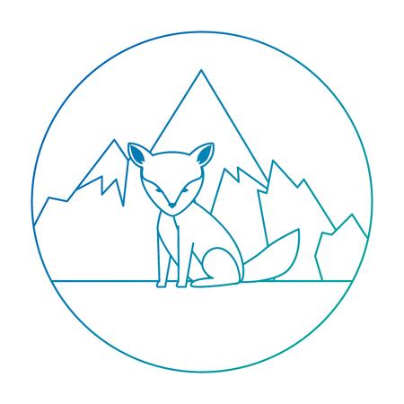 wild canadian fox with landscape vector illustration design