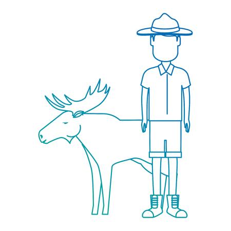 Canadian Ranger with elk vector illustration design