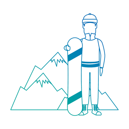 snowboarder man with mountains character vector illustration design