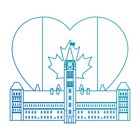 canadian parliament building with heart flag vector illustration design