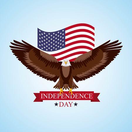 independence day america eagle holding ribbon flag united states vector illustration