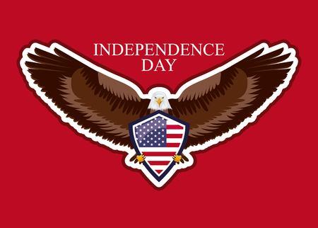independence day america celebration eagle holding usa shield vector illustration