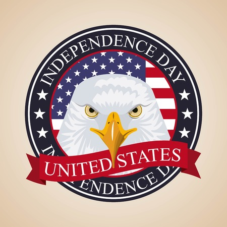 independence day america sticker with face eagle flag usa important celebration vector illustration