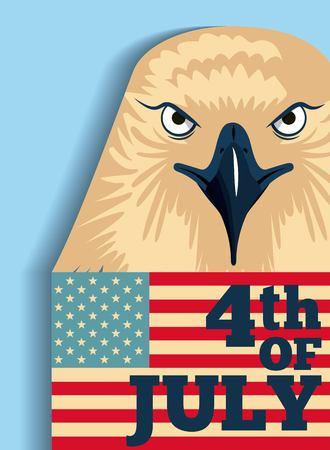 independence day america july date celebration flag usa eagle vector illustration Illustration