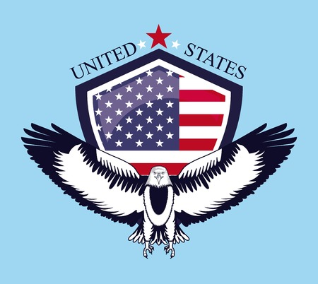 independence day america eagle open wings shield united states flag vector illustration