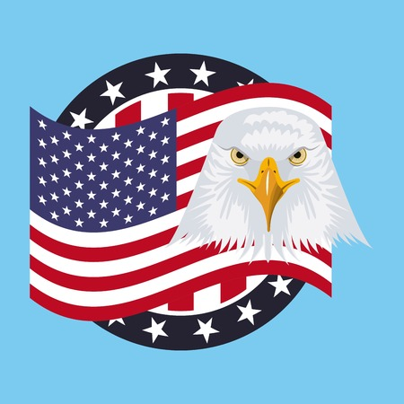independence day america sticker flag united states july date eagle face vector illustration